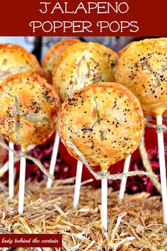 Jalapeno Popper Pops - This is not your typical popper.  This pie pop is filled with creamy cream cheese, jalapenos and yummy bacon!  All encased in a pie crust and baked NOT fried!  These make the best appeitizers for game day, a backyard barbecue or a party
