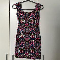 Aztec print bodycon mini dress Aztec print bodycon mini dress in dope bold colors. Fits curves nicely. Short. Worn once. H&M Dresses Mini