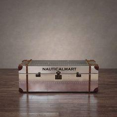 Aluminum Aviator Storage Trunk Coffee Table By Nauticalmart: Amazon.co.uk:  Garden