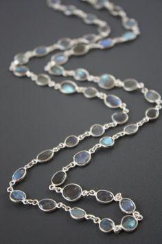 Flashy Labradorite Bezeled Long Necklace by YaniaCreations on Etsy, $185.00
