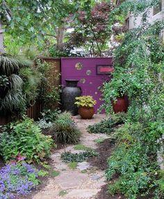 landscape, green wall, stone path, garden containers, garden gate