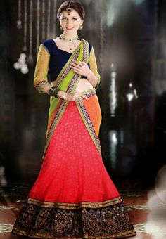 Light Red Color Net and Santoon Lehenga Choli with Dupptta