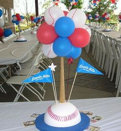 Centerpiece with balloons sports birthday, baseball birthday party, softbal Baseball Centerpiece, Sports Centerpieces, Balloon Centerpieces, Balloon Decorations, Banquet Centerpieces, Shower Centerpieces, Centerpiece Ideas, Baseball Birthday Party, Sports Birthday