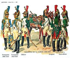 NAP- France: French Dragons de la Garde by Eugène Leliepvre. Military Weapons, Military Art, Military History, Military Uniforms, Napoleon French, Bataille De Waterloo, Battle Of Waterloo, Waterloo 1815, French Army