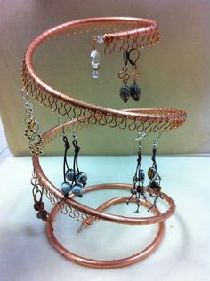 Spiral Copper Earring Tree, Holder, Organizer. Holds approx 55 pairs.. $26.00, via Etsy.