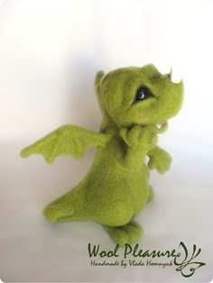 Needle Felted Toy. Little Green Dragon. autumn colors- Etsy.