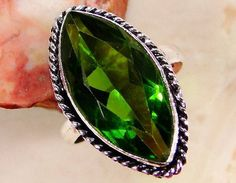 Peridot & 925 Sterling Silver Overlay Ring US Size by SilverLink74