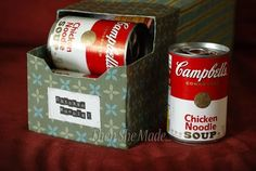 12 pack soda box covered for re-use with storing soup
