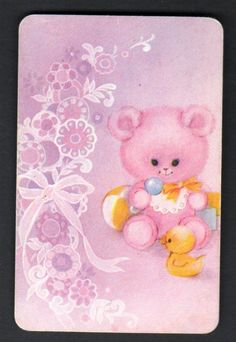 Vintage Swap Card -  Cute Pink Bear.