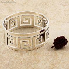 Sterling silver hinged bangle bracelet in Greek key design