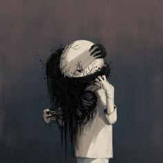 Touching drawn: The poetry of human emotions - Inspiration - Zeichnungen Dark Art Illustrations, Illustration Art, Drawing Feelings, Art Noir, Sun Projects, Arte Obscura, Deep Art, Image Manga, Sad Art