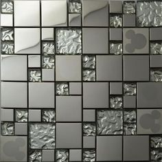Silver glass kitchen backsplash tile stainless steel glass mosaic tiles random mickey mouse pattern  bathroom mirror walls tile