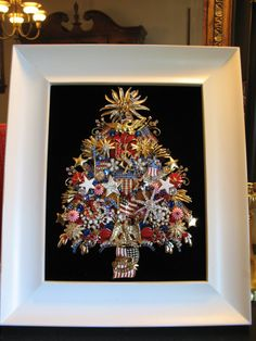 Let Freedom Ring - Framed Vintage Jewelry Patriotic Christmas Tree by SunnyDayVintageAnnex, $445.00