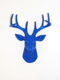 The MINI Aksel | Stag Deer Head | Faux Taxidermy | Blue Resin