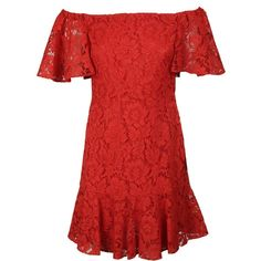 Guipure Lace Mini Dress (£1,085) ❤ liked on Polyvore featuring dresses, red, off the shoulder dress, off the shoulder mini dress, short sleeve dress, red mini dress and off the shoulder lace dress