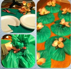Lilly pads using plastic table cloth and paper plates