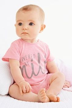 Two Pack Pink Slogan Rompers (0-18mths)