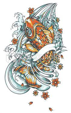 koi fish tattoo Royalty Free Stock Vector Art Illustration