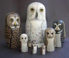 handpainted nesting owls