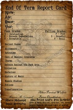 End Of Year Reports Templates Fresh Hogwarts Report Card by Captainjackharkness On Deviantart Harry Potter Plakat, Wiki Harry Potter, Harry Potter Spells List, Magia Harry Potter, Classe Harry Potter, Estilo Harry Potter, Harry Potter Printables, Harry Potter Poster, Mundo Harry Potter