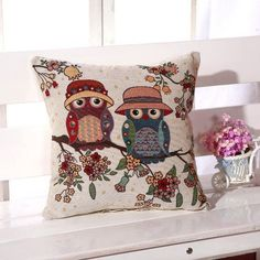 Owl Cushion Cover Linen Cotton Cartoon Night Owls decorative pillows