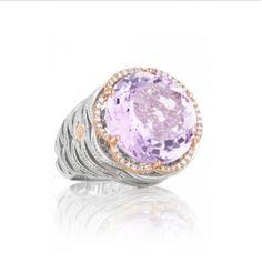 SR105P13 #fashionrings #amethyst #purple #stone #sterlingsilver #diamonds #Tacori #BlushingRose #ArtisansJewelers
