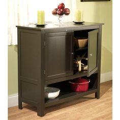 Espresso Buffet Sideboard Cabinet with Bottom Storage Shelf