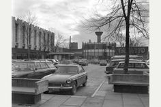 Bargates Shopping Centre, in Burton - 1968 Looking across the precinct to the Rotunda.