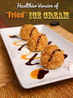 Healthier Fried Ice Cream #HoneyBunchesGreek #recipe