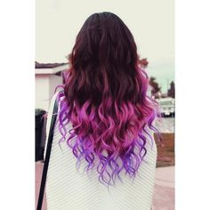 Ombre Hair Color Idea Brown, Pink, Purple Ombre Hair ❤ liked on Polyvore featuring hair and hairstyles