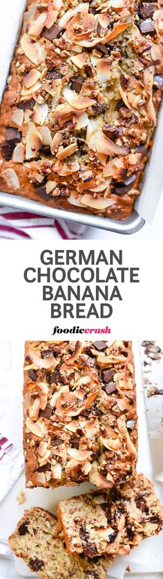My favorite banana bread recipe gets a pecan, coconut and chocolate chunk upgrade, making this quick bread a dessert lovers dream   foodiecrush.com #bread #bananabread
