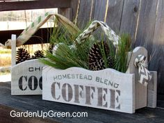 Share cute Homestead blend coffee and Christmas cocoa stenciled gift boxes made from reclaimed wood with ribbon handles for the holidays.