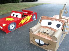 life size CARS made from cardboard!