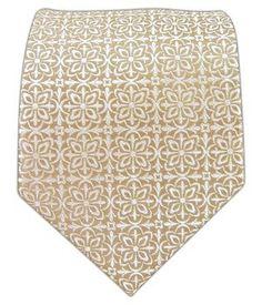 100% Woven Silk Champagne Opulent Geometric Patterned Tie