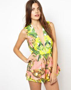 Mono corto con estampado floral Next In Line de Finders Keepers