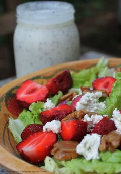 Strawberry Salad with Candied Pecans, Bleu Cheese & Poppy Seed Vinaigrette #melissassoutherncookbook