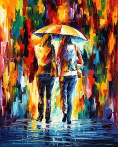 "FRIENDS UNDER THE RAIN — PALETTE KNIFE Oil Painting On Canvas By Leonid Afremov - Size 24""x30"""