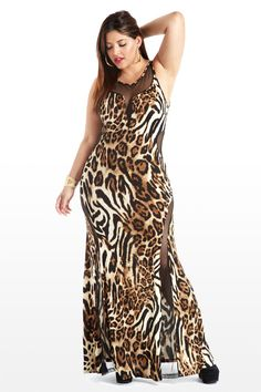 Primal Peek Animal Print Plus Size Maxi Dress