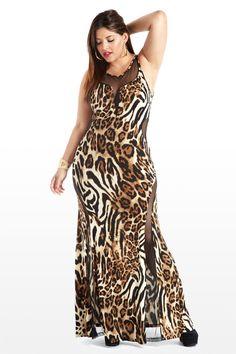 Primal Peek Animal Print Plus Size Maxi Dress