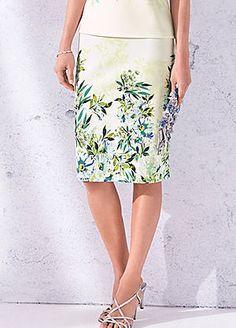 Border Print Knitted Crepe Straight Skirt #kaleidoscope #occasionwear