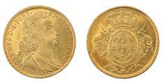 Moeda de ouro do Brasil Colônia alusiva à D João Príncipe Regente 1808