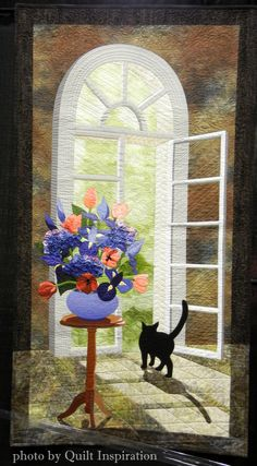French Doors by Laurel Anderson, 2014 Road to California, closeup photo by Quilt Inspiration