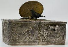 Antique 1900's Silver Singing Automaton Bird Box, Switzerland (G22)