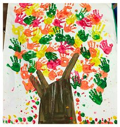 Cute handprint tree for preschool fall class craft.