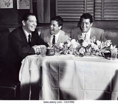 Milton Berle, Jerry Lewis, and Dean Martin at The Brown Derby, c. 1956.