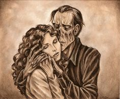 Touch Has A Memory by Muirin007.deviantart.com on @DeviantArt- this uses the book's description of the phantom, that his skin was so thin that you could see his bones, and he had no nose, which gave him the look of a skull.