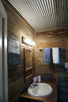 Love this Rustic Corrugated Metal Ceiling in this farmhouse bathroom. Diy Bathroom Remodel, Budget Bathroom, Bathroom Renovations, Bathroom Ideas, Master Bathroom, Master Shower, Basement Bathroom, Bathroom Ceilings, Bathroom Cabinets