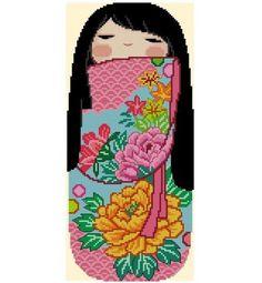 Japanese Kokeshi Girly Doll 8 HARUMI Cross by CrossStitchRinna