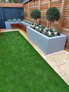 modern garden design artificial grass raised beds cedar screen floating bench london designer cheam sutton croydon – London Garden Blog