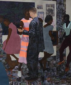Njideka Akunyili Crosby : When the Going Is Smooth and transfers, colored pencil, charcoal and collage on in. Contemporary African Art, Contemporary Paintings, Black Artists, New Artists, Illustrations, Illustration Art, African American Artist, Art For Art Sake, Figurative Art